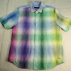 Tommy Bahamas Linen Pastel Rainbow Shirt Large